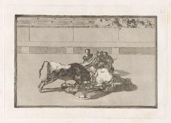 Caida de un picador de su caballo debajo del toro (A Picador is Unhorsed and Falls Under the Bull), Plate 26 from La tauromaquia