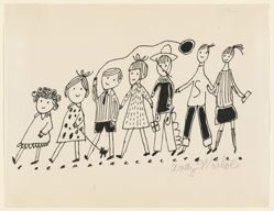 Untitled (drawing for a children's book, with 7 children)
