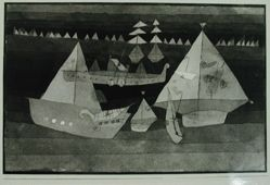 "Photograph of Paul Klee's ""Small Regatta,"" 1922, watercolor [Phillips collection, reported stolen 1963] -- from Katherine S. Dreier's private collection"