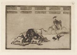 Echan perros al toro (They Loose Dogs on the Bull), Plate 25 from La tauromaquia