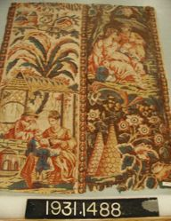 """Length of Printed Cotton, """"Two Chinoiserie Scenes"""""""