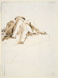 Reclining male nude with right hand resting on a stone tablet, seen from below