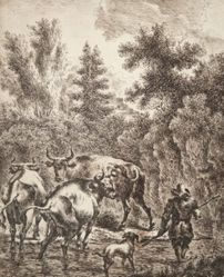Peasant Fording Stream with Cattle and Dog
