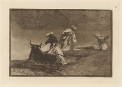 Capean otro encerrado (They Play Another with the Cape in the Enclosure), Plate 4 from La tauromaquia