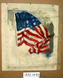 Study of the American flag, for The Apotheosis of Pennsylvania, House of Representatives Chamber, Pennsylvania State Capitol, Harrisburg
