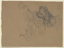 Young Boy Reclining on Elbows, Admiring a Shepherdess