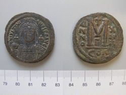 Follis (40 Nummi) of Justinian I, Emperor of Byzantium from Constantinople