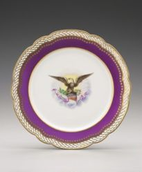 Plate in the pattern of the Abraham Lincoln Dinner Service ordered during the Grant or Arthur Administration