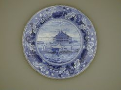 Plate with a view of Boston, Nahant Hotel, Near ( without a tree)
