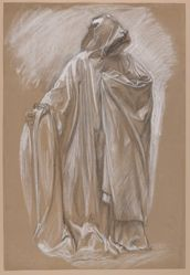 "Study for the figure of Joseph of Arimathea for ""The Arthurian Round Table and the Fable of the Seat Perilous,"" the third in a series of fifteen murals illustrating ""The Quest and Achievement of the Holy Grail,"" for the second-floor Book Delivery Room of the Boston Public Library"