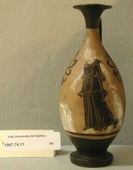 Late Black-Figure Lekythos (Standing Woman with Shield [Nike?] and Altar)