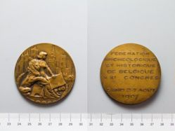 Bronze Medal from Belgium Commemorating Meeting of Achaeological and Historical Federation of Belgium (Congress)- Meeting