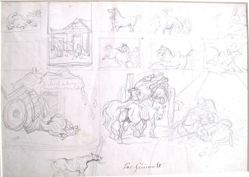 Study of horses (recto); A wagon followed by a sign bearer (verso)