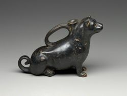 Black-glazed askos in the form of a sitting ferret