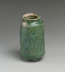 Green Glazed Cylindrical Jar