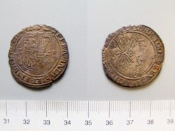 Two-real coin of Ferdinand II and Isabella from Seville