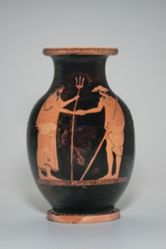 Oinochoe showing Poseidon and Theseus