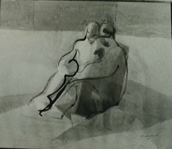 "Photograph of Jacques Villon's ""The Lovers,"" 1923, oil [location unknown] -- from Katherine S. Dreier's private collection"