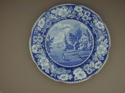 Plate with a view of New York from Brooklyn Heights
