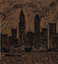 Linoleum block for New York, or Skyline