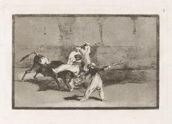 Cogida de un moro estando en la plaza (A Moor Caught by the Bull in the Ring), Plate 8 from La tauromaquia
