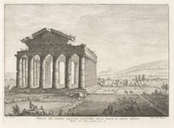 Veduta del tempio esastilo perittero dalla parte di mezzo giorno (View of the Peripteral Hexastyle Temple from the South), from Antichità di Pesto (Antiquities of Paestum)