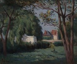 Country Scene with Three Houses and Trees
