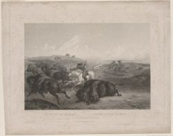 Indians Hunting the Bison, from the book Maximilian, Prince of Wied's, Travels in the Interior of North America (London: Ackermann & Co., 1841)