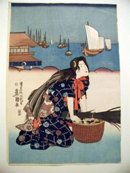 Woman with basket of clams