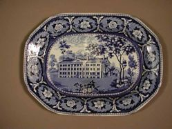 Platter with a View of the Deaf and Dumb Asylum, Hartford, Connecticut
