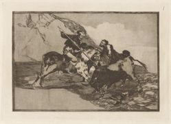 Modo con que los antiguos Españoles cazaban los toros á caballo en el campo (The Way in which the Ancient Spaniards Hunted Bulls on Horseback in the Open Country), Plate 1 from La tauromaquia