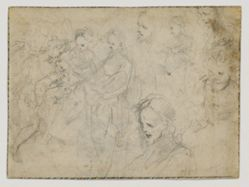 Studies for Christ Giving a New Heart to Saint Catherine of Siena (recto); God the Father in the Air with Arms Outstretched (verso)