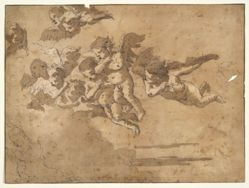 Putti Flying in Clouds