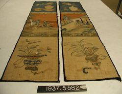 Pair of Chair Covers with Figures in Landscapes and Antiquities