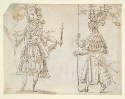 Two costume studies (recto); Chariot in form of a unicorn (verso)
