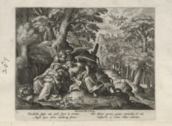 Elisabeth, one of 24 prints from the series  Solitudo Sive Vitae Foeminarum Anachoritarum (Female Hermits in Landscapes)