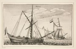 Dutch Cargo Ships, from Navium varie figurae, number eleven of a series of twelve etchings of Dutch ships