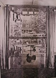 "Exterior view of Katherine S. Dreier's Milford home, ""Laurel Manor"" -- looking from interior through Duchamp's Large Glass at Brancusi's Leda in garden"