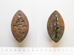 Bronze Gothic Seal with Madonna and Child