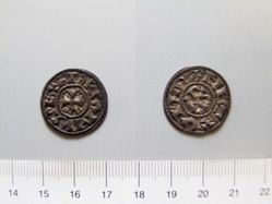 1 Denier of Charles II, King of France from Melle