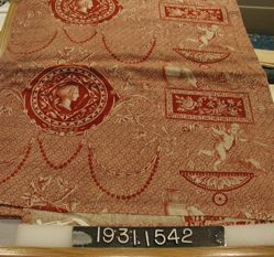 "Length of printed cotton, ""Medallions and Cartouches"""