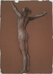 """Study for figure of 6 am in """"The Hours"""" celing at the state capitol building in Harrisburg, Pennsylvania"""