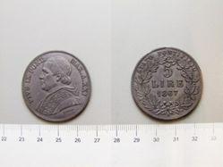 5 Lire  of Pope Pius IX from Rome
