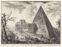 Veduta del Sepolcro di Cajo Cestio (View of the Pyramidal Tomb of Caius Cestius [with the Porta S. Paolo to left]), from Vedute di Roma (Views of Rome)