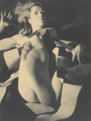 Untitled, [Nude with Striped Fabric]