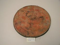 Gray Plate with Red and Black Design