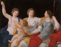 Venus, Juno, and Minerva, with Cupid