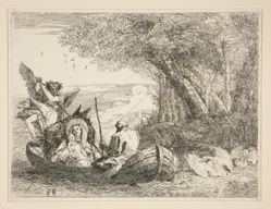 The Holy Family Traveling by Boat, from the series Idee pittoresche sopra la fuga in Egitto (Flight into Egypt)
