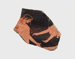 Athenian red-figure vase fragment depicting Eos pursuing Tithonos