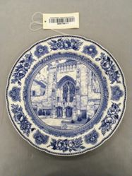 Plate with view of Sterling Memorial Library